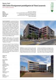 Construction du Gymnase de Renens CEOL GYRE quartier des Entrepôts