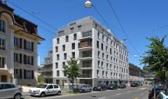 location appartements et bureaux immeuble locatif Chailly Lausanne Agence BCV Atelier Commun Architecte