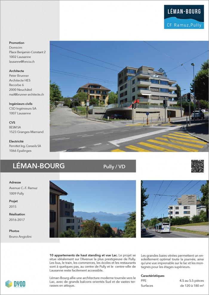 Promotion à vendre 10 appartements PPE de haut standing et vue Lac à Pully