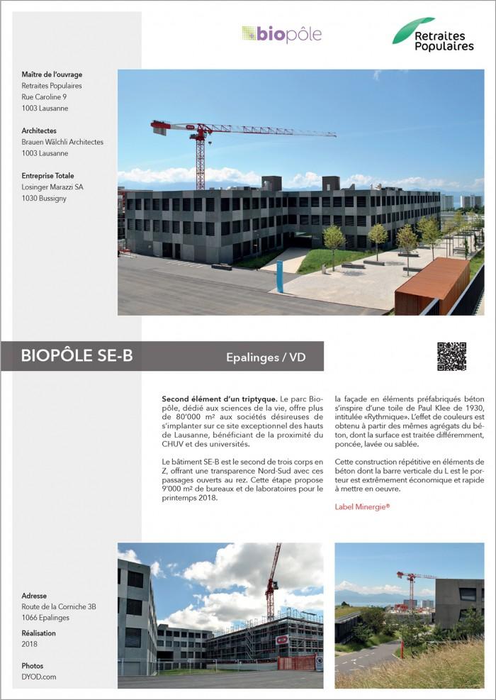 BIOPÔLE SE-B construction d'un pôle de biotechnologie proche du CHUV