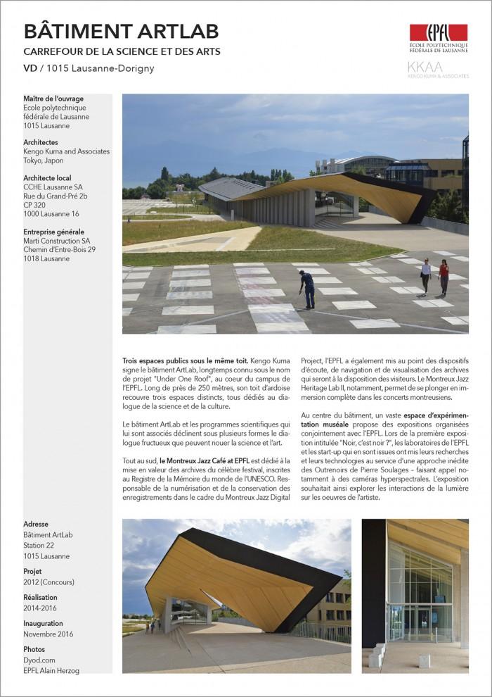Artlab EPFL Lausanne construction d'un centre d'art de culture et de sciences par Kengo Kuma Architectes