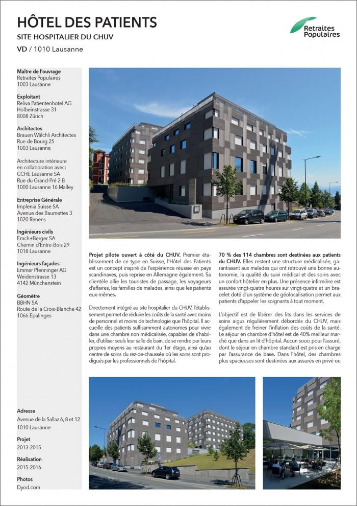 Hôtel des Patients Lausanne CHUV projet pilote chambres pour le CHUV hôpital
