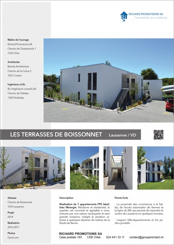 Villas urbaines à Lausanne Boissonnet proche de la Route de Berne PPE Location