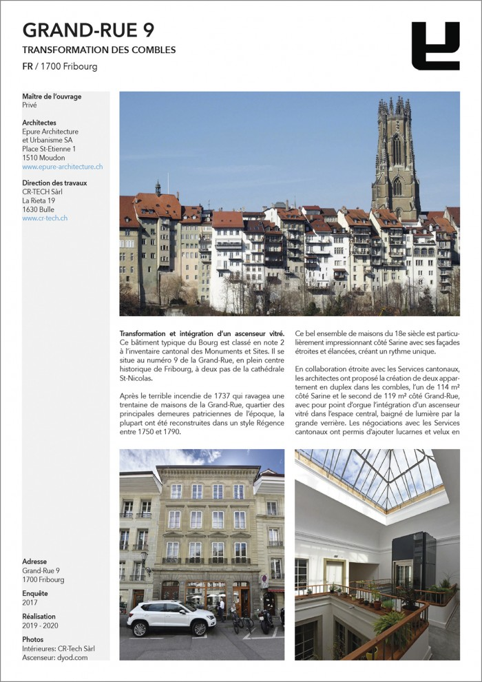 Transformation combles Grand-Rue 9 Fribourg Epure architecture CR-Tech