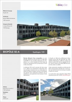 BIOPÔLE SE-A Epalinges Lausanne CHUV construction d'un pôle de biotechnologie par Brauen Waelchli Losinger Marazzi et Retraites populaires