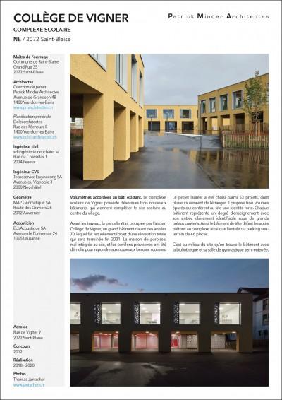 Collège de Vigner Saint-Blaise Patrick Minder architectes