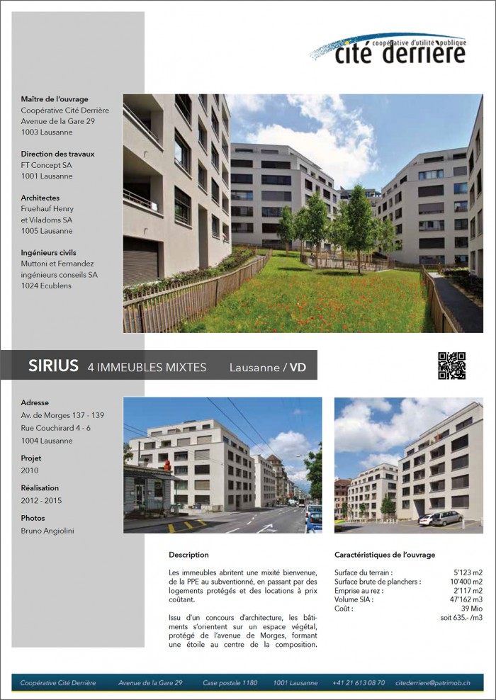 Sirius Avenue de Morges Lausanne Cité derrière Patrimob
