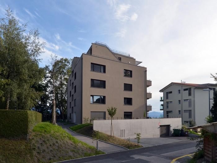 Construction d'un immeuble locatif au standard PPE vue sur Aquatis et Lausanne