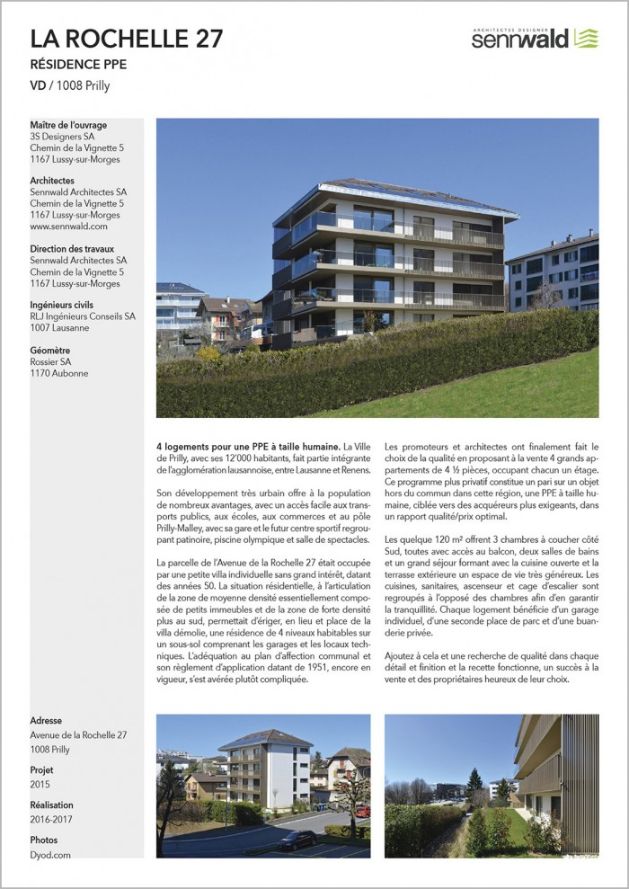 La Rochelle Prilly Immeuble PPE Sennwald architectes